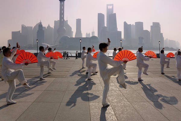 Practice Photograph - People Practicing Taiji With Red Fans by Danita Delimont