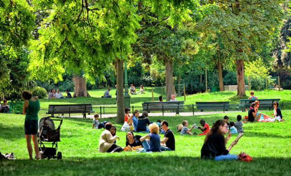 Public Land Photograph - People Relaxing In Park Monceau by Visions Of Our Land