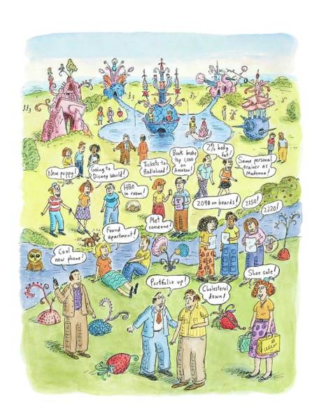 Garden Drawing - People Share Good News Around A Garden by Roz Chast