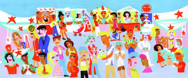 People Shopping And Eating In Vibrant Art Print