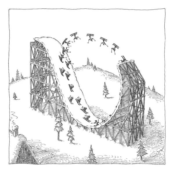 Winter Drawing - People Ski On A Circular Ski Ramp That Resembles by John O'Brien