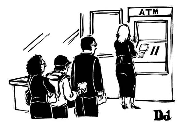 Breakfast Drawing - People Stand In Line At Atm Which Is An Automatic by Drew Dernavich