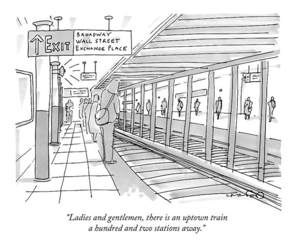 Train Drawing - People Stand On A Subway Platform Awaiting by Michael Crawford