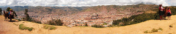 Cusco Photograph - People With Cattle On A Hillside by Panoramic Images