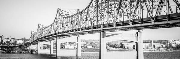American Steel Photograph - Peoria Bridge Panoramic Black And White Picture by Paul Velgos