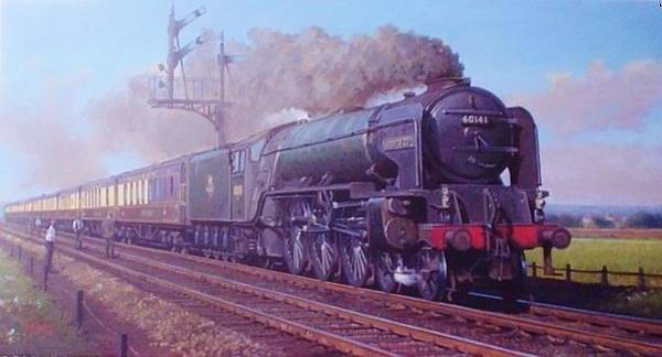Vintage Train Painting - Peppercorn Pacific. by Mike Jeffries