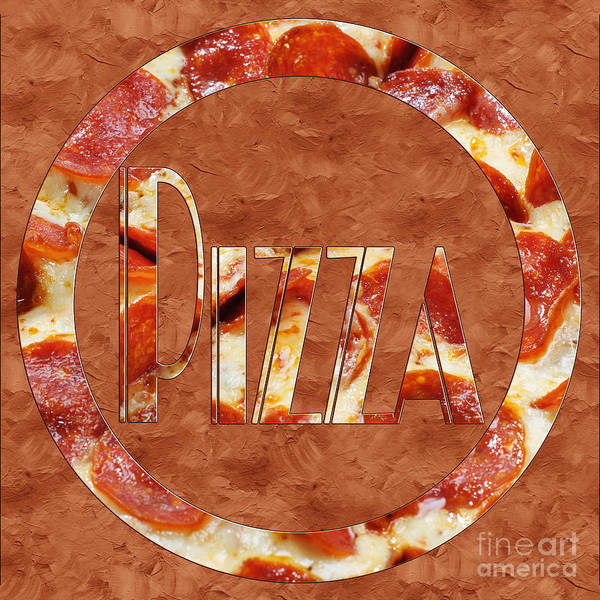 Photograph - Pepperoni Pizza Typography 2 by Andee Design