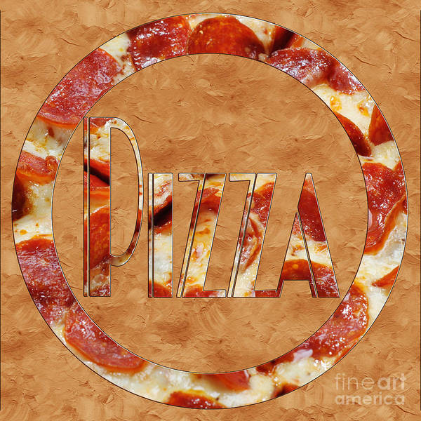 Photograph - Pepperoni Pizza Typography 3 by Andee Design