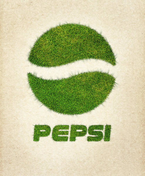 Water Plant Digital Art - Pepsi Grass Logo by Aged Pixel