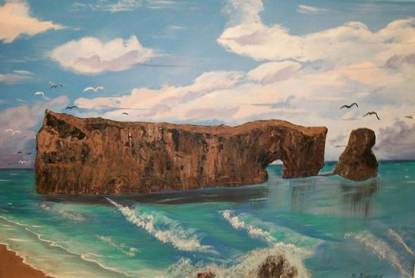 Oceanscape Painting - Perce Rock Gaspe  Quebec by Sharon Duguay