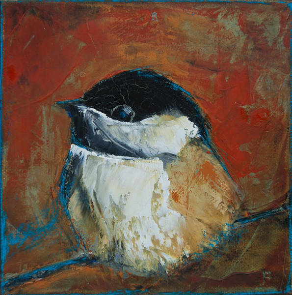 Painting - Perched Chickadee by Jani Freimann