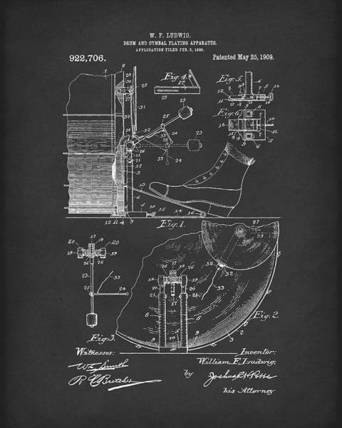 Wall Art - Drawing - Percussion System 1909 Patent Art Black by Prior Art Design