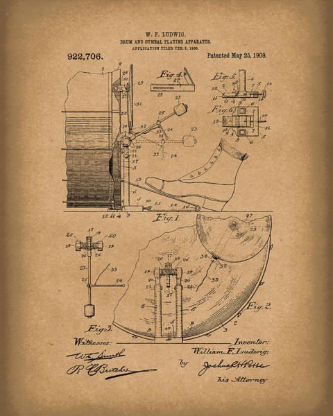Drawing - Percussion System 1909 Patent Art Brown by Prior Art Design