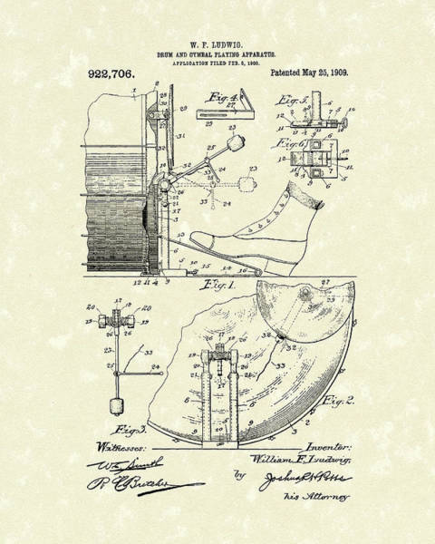 Drawing - Percussion System 1909 Patent Art by Prior Art Design