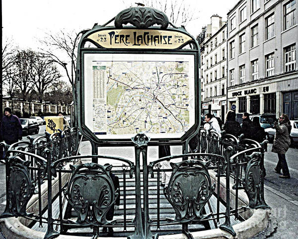 Wall Art - Photograph - Paris Pere Lachaise Metro Station Map And Pere Lachaise Art Nouveau Architecture by Kathy Fornal