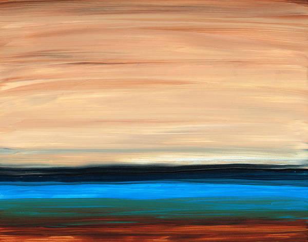 Perfect Calm - Abstract Earth Tone Landscape Blue Art Print