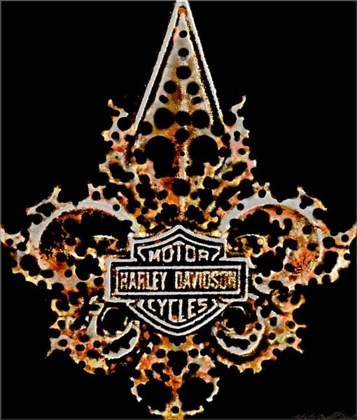 Digital Art - Perforated Fleurs De Lys With Harley Davidson Logo by Danielle  Parent