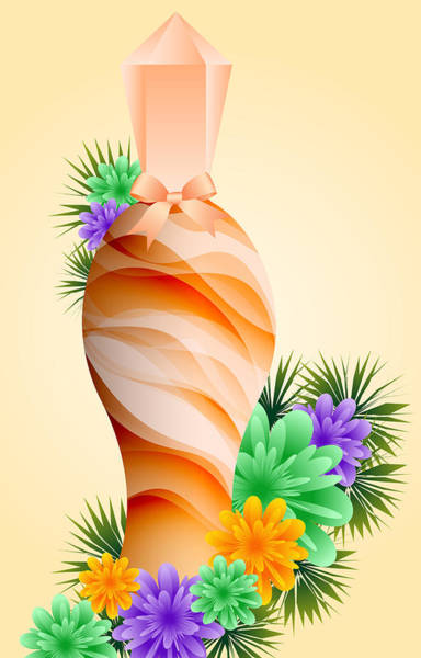Essence Digital Art - Perfume Bottle And Flowers by Toots Hallam