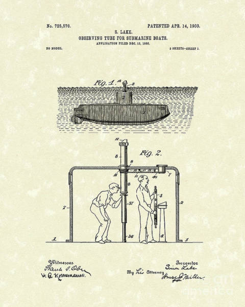 Drawing - Periscope 1903 Patent Art by Prior Art Design