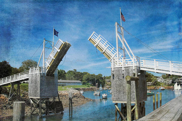 Art Print featuring the photograph Perkins Cove Drawbridge Textured by Jemmy Archer
