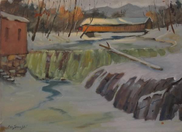 Covered Bridge Painting - Perrines Covered Bridge by Len Stomski