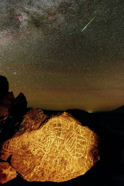 Petroglyph Photograph - Perseid Meteor Over Petroglyph by Babak Tafreshi/science Photo Library