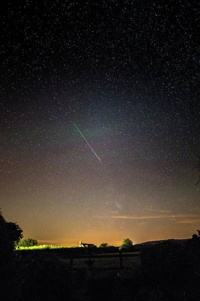 Perseid Wall Art - Photograph - Perseid Meteor Trail 2015 by Chris Madeley