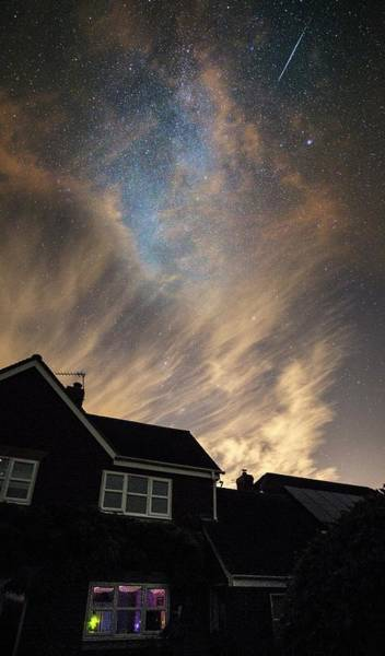 Dwelling Photograph - Perseid Meteor Trail Over Houses by Chris Madeley
