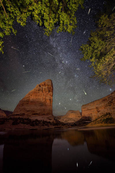 Shooting Star Wall Art - Photograph - Perseids Meteor Shower Over Steamboat Rock by Mike Berenson