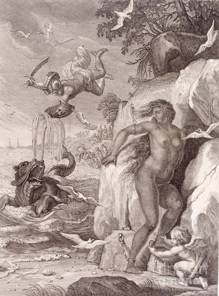 Heroic Wall Art - Painting - Perseus Delivers Andromeda From The Sea Monster by Bernard Picart