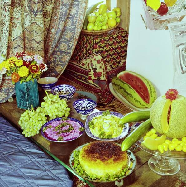 Wall Art - Photograph - Persian Meal In Manoucher Yektai's Home by Horst P. Horst