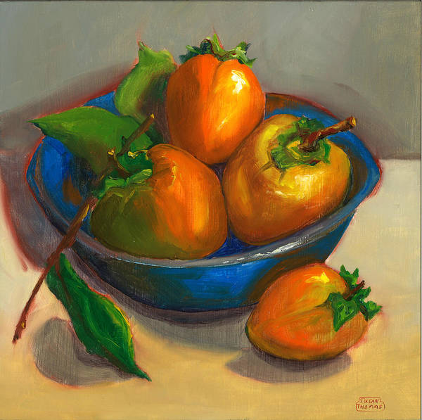 Persimmon Painting - Persimmons In Blue Bowl by Susan Thomas
