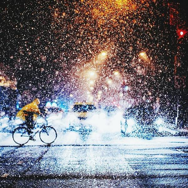 Real People Photograph - Person Riding Bicycle In Snowfall by Maclerin Mines / Eyeem