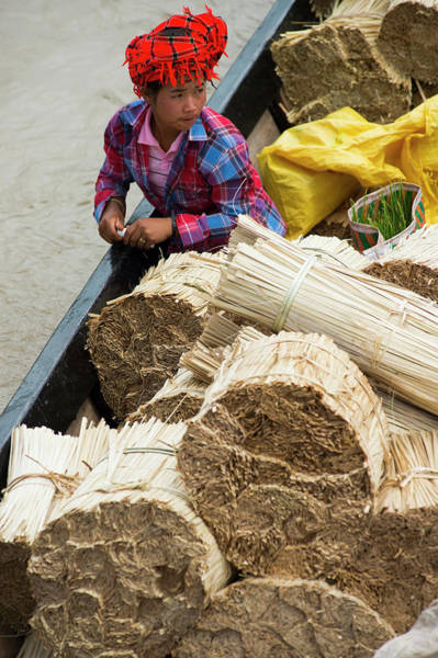 Myanmar Photograph - Person With Produce On Boat, Inle Lake by Cultura Rm Exclusive/yellowdog