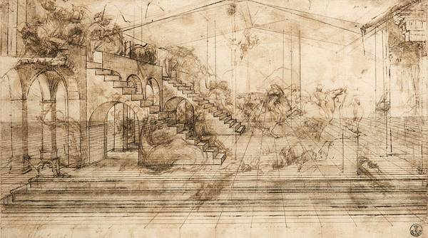 Galleria Painting - Perspectival Study Of The Adoration Of The Magi by Leonardo da Vinci