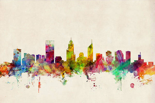 Wall Art - Digital Art - Perth Australia Skyline by Michael Tompsett