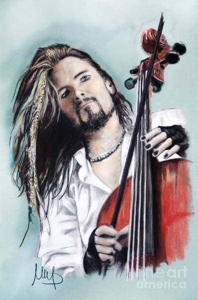 Cello Wall Art - Drawing - Perttu Kivilaakso _ Apocalyptica by Melanie D