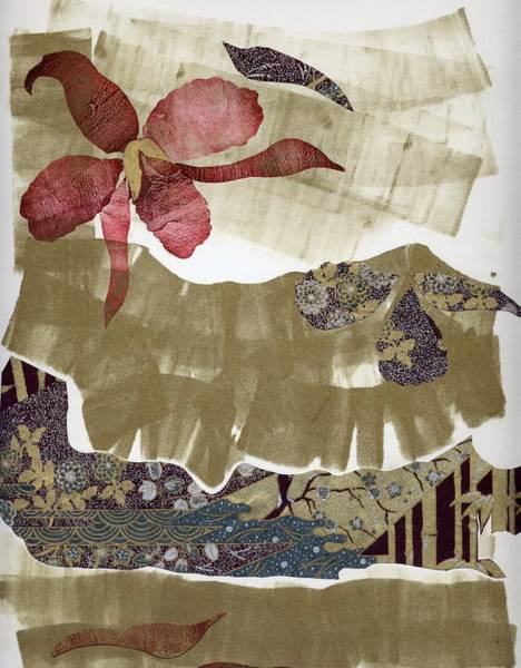 Monotype Mixed Media - Orchids by Theresa Khong