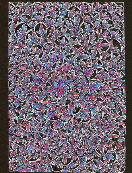 Dark Pink Drawing - Petals With Colors by Yvette Pichette