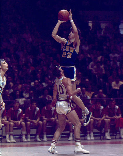 Nba Photograph - Pete Maravich Leaning Jumper by Retro Images Archive