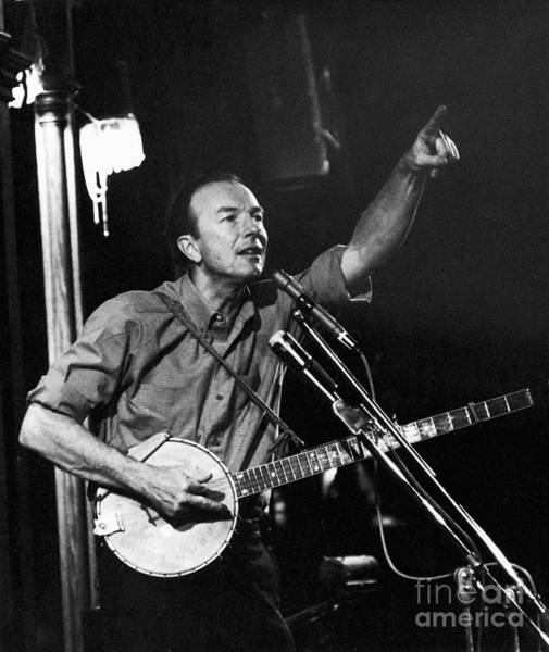 Village Gate Photograph - Pete Seeger  by Erik Falkensteen