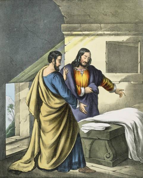 Disciple Wall Art - Drawing - Peter And John At The Sepulchre by Siegfried Detler Bendixen