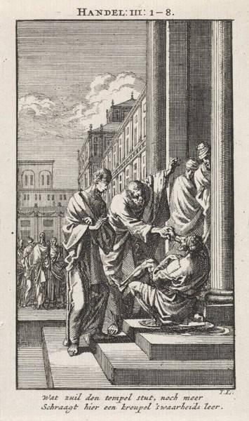 Healing Drawing - Peter And John Heal A Crippled Person, Jan Luyken by Jan Luyken And Wed. Pieter Arentsz & Cornelis Van Der Sys (ii)