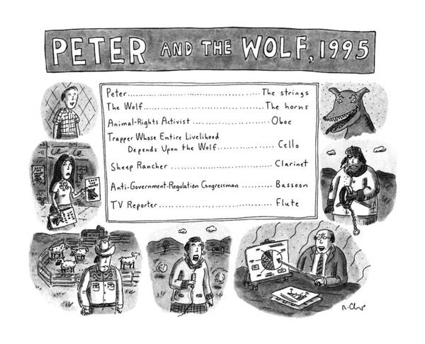Reporter Drawing - Peter And The Wolf by Roz Chast