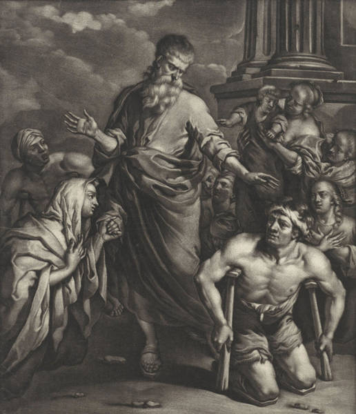 Healing Drawing - Peter Heals A Crippled Person Before The Temple by Jan Van Somer