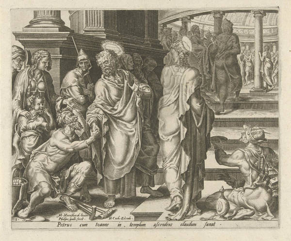 Healing Drawing - Peter Heals A Paralytic, Philips Galle, Hieronymus Cock by Philips Galle And Hieronymus Cock