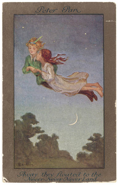 Wall Art - Drawing - Peter Pan And Wendy Fly  To Never-never by Mary Evans Picture Library