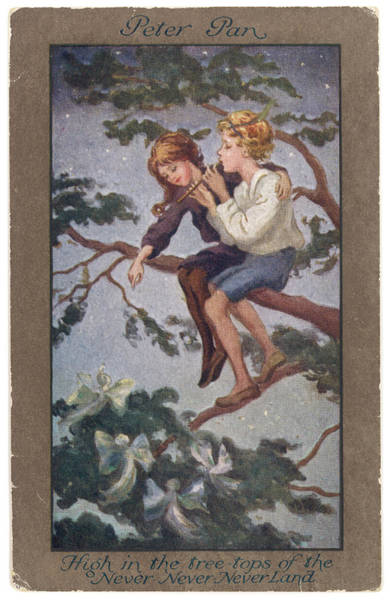 Wall Art - Drawing - Peter Pan And Wendy Sit In A  Treetop by Mary Evans Picture Library