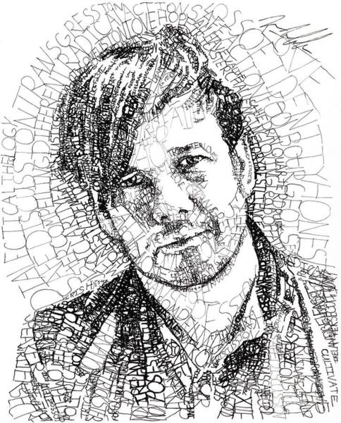 Michael Drawing - Peter Rollins by Michael Volpicelli