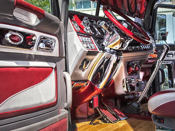 Semi Truck Photograph - Peterbilt Interior by Theresa Tahara